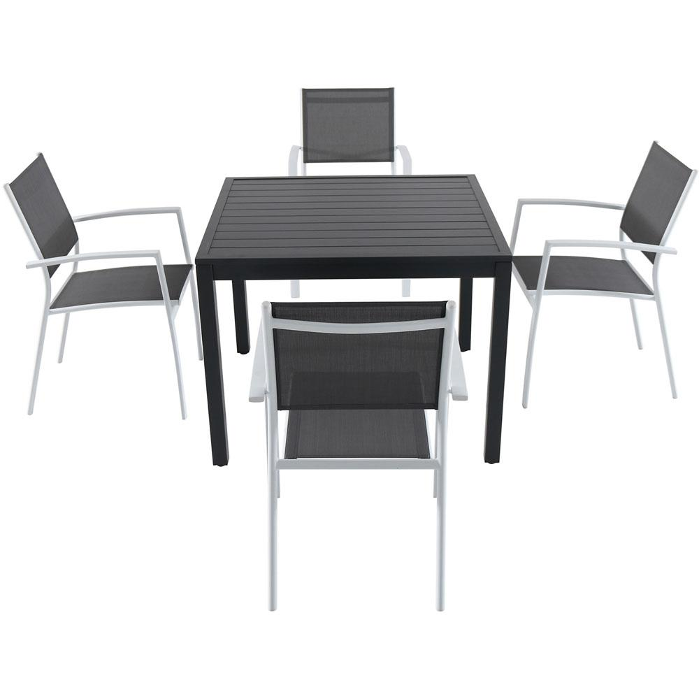 Miraculous Cambridge Nova 5 Piece Aluminum Outdoor Dining Set With 4 Sling Arm Chairs And A 38 In Square Dining Table Home Interior And Landscaping Ologienasavecom