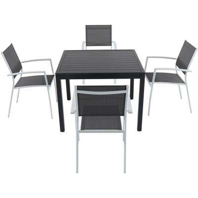 Nova 5-Piece Aluminum Outdoor Dining Set with 4-Sling Arm Chairs and a 38 in. Square Dining Table