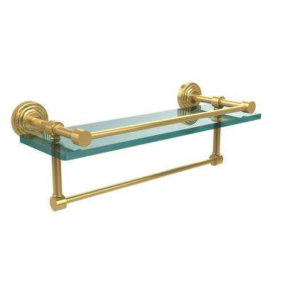 16 in. L  x 5 in. H  x 5 in. W Clear Glass Bathroom Shelf with Towel Bar in Polished Brass