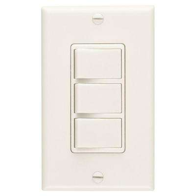 20 Amp 3-Function Single Pole Rocker Switch Wall Control - Ivory