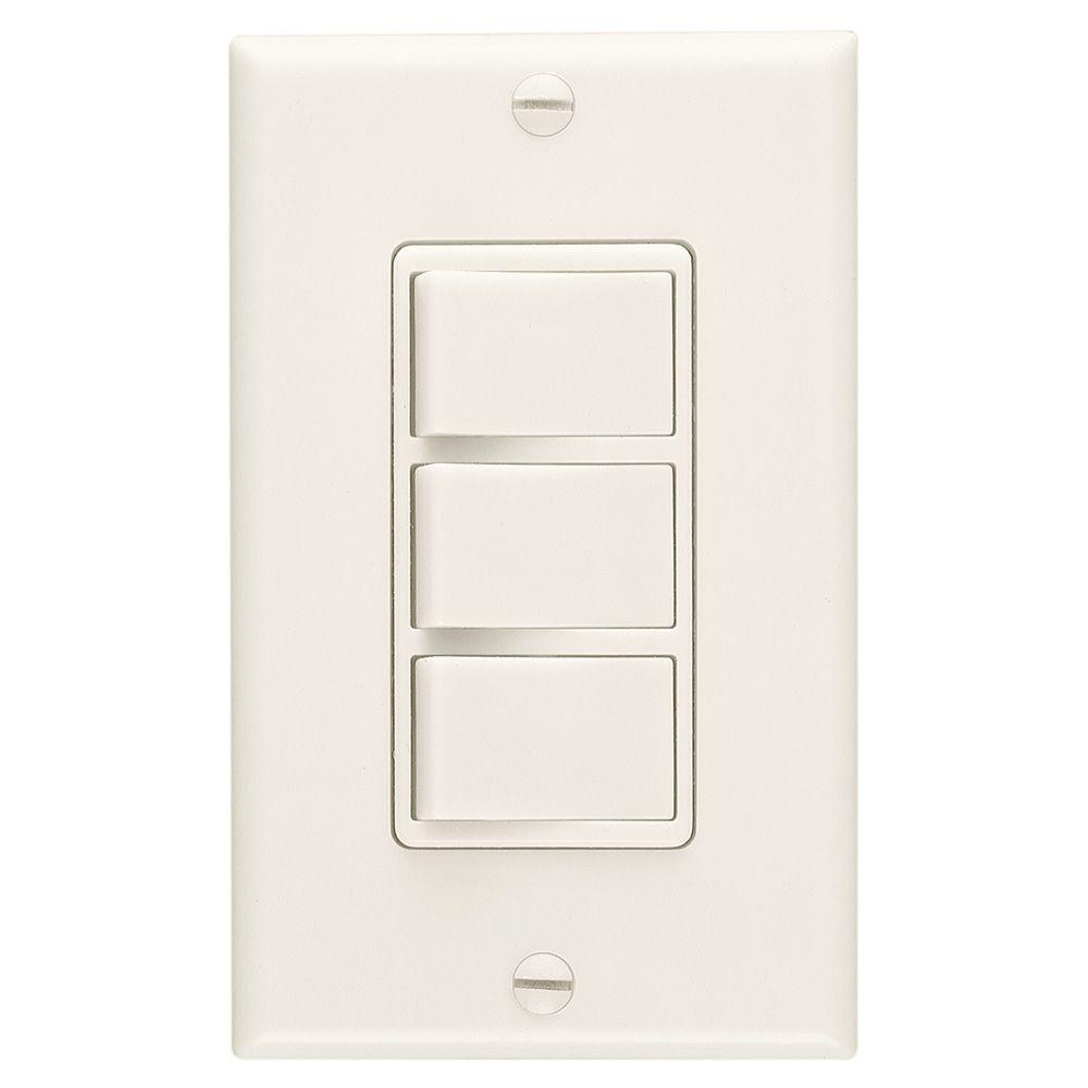 Broan-NuTone 20 Amp 3-Function Single Pole Rocker Switch Wall Control - Ivory