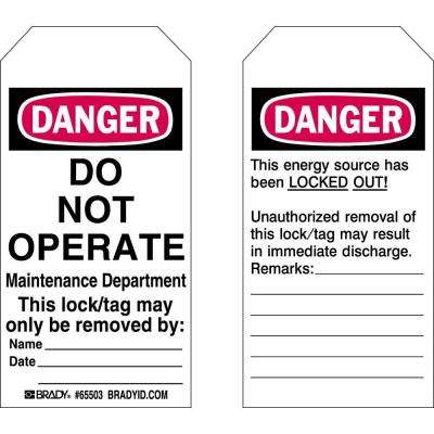 Maintenance Department Lockout Tags (25-Pack)