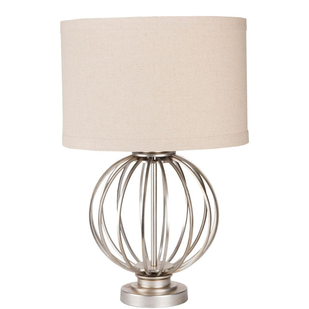 Theodore 15 in. Antiqued Silvertone Indoor Table Lamp