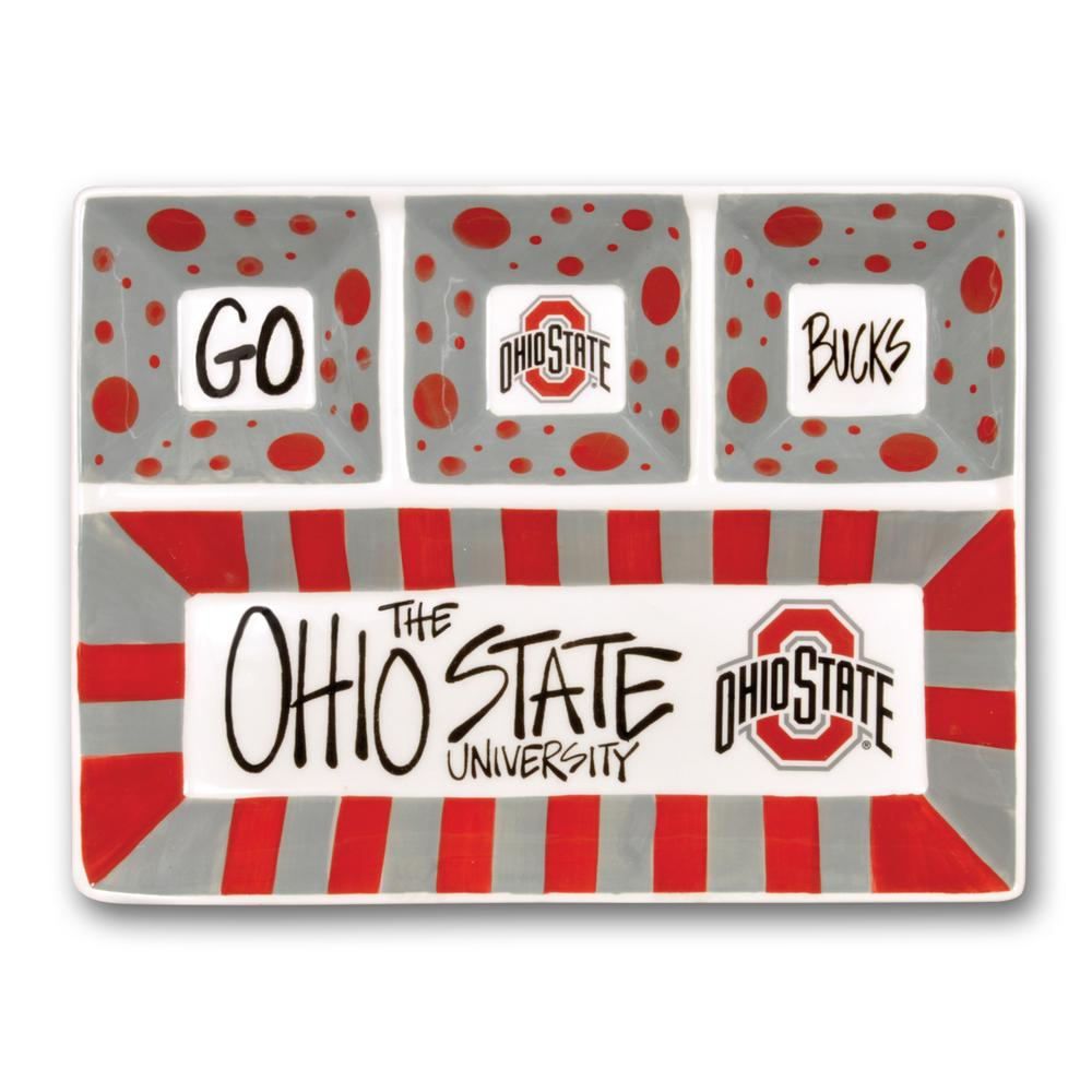 Ohio State Ceramic 4 SectionTailgating Serving Platter