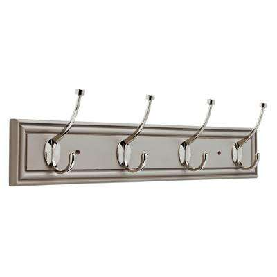 Galena 27 in. Pebble Gray and Polished Nickel Pilltop Hook Rack