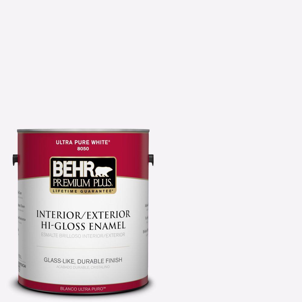 BEHR Premium Plus 1-gal. #W-D-600 Bridal Veil Hi-Gloss Enamel Interior/Exterior Paint