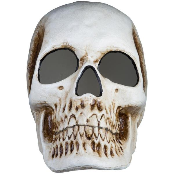 20 in. Blow Mold Lighted Decor-Candle Flicker-Matte Black Skull