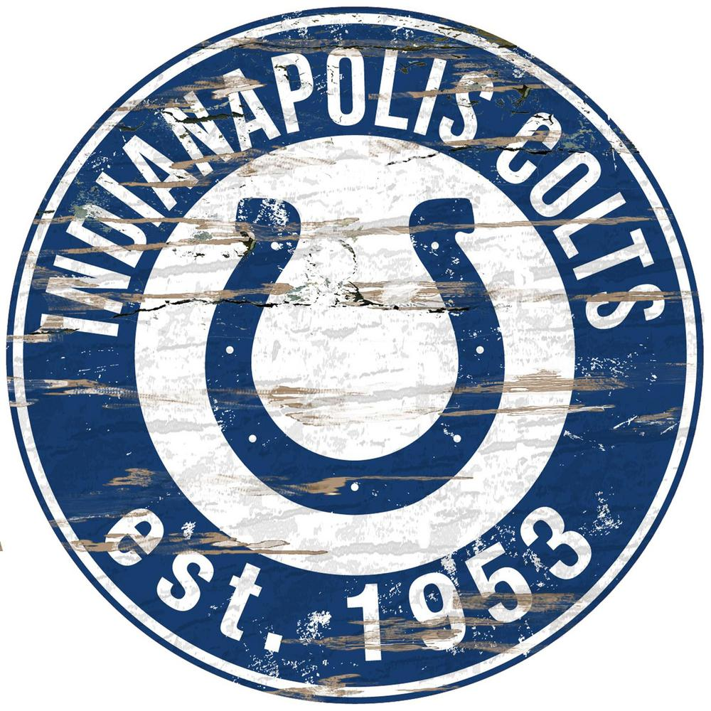 24 Quot Nfl Indianapolis Colts Round Distressed Sign N0659 Ind