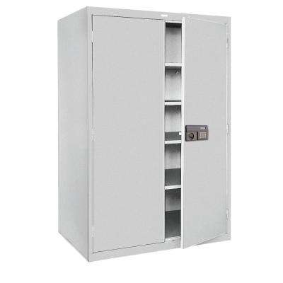 72 in. H x 36 in.W x 18 in. D 5-Shelf Steel Quick Assembly Keyless Electronic Coded Storage Cabinet in Dove Gray