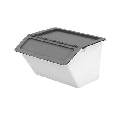 Patented Pelican Series 32 Qt. Stackable and Nestable Storage Box with 2-Stage Lid in Grey (6-Pack)