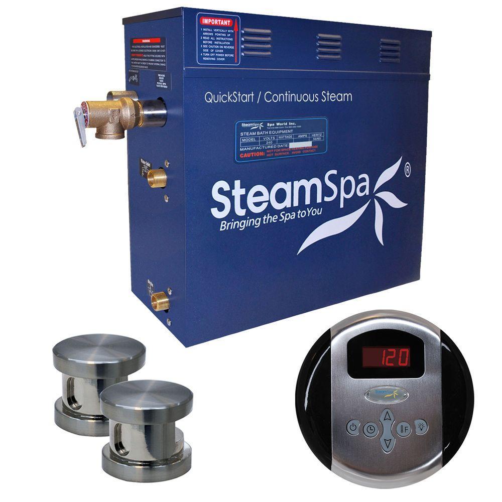 SteamSpa Oasis 10.5kW Steam Bath Generator Package in Brushed Nickel by SteamSpa