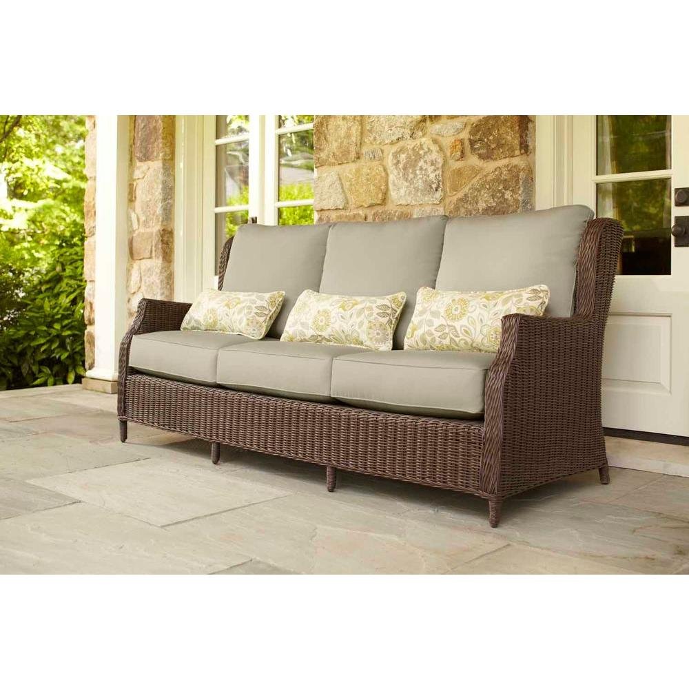 Brown jordan vineyard patio sofa with meadow cushions and for Sofa exterior impermeable