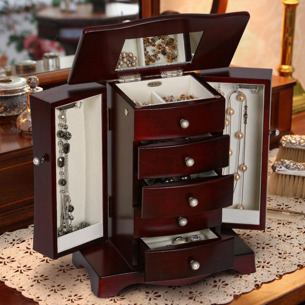 Mele Bette Mahogany (Brown) Finish Wooden Jewelry Box