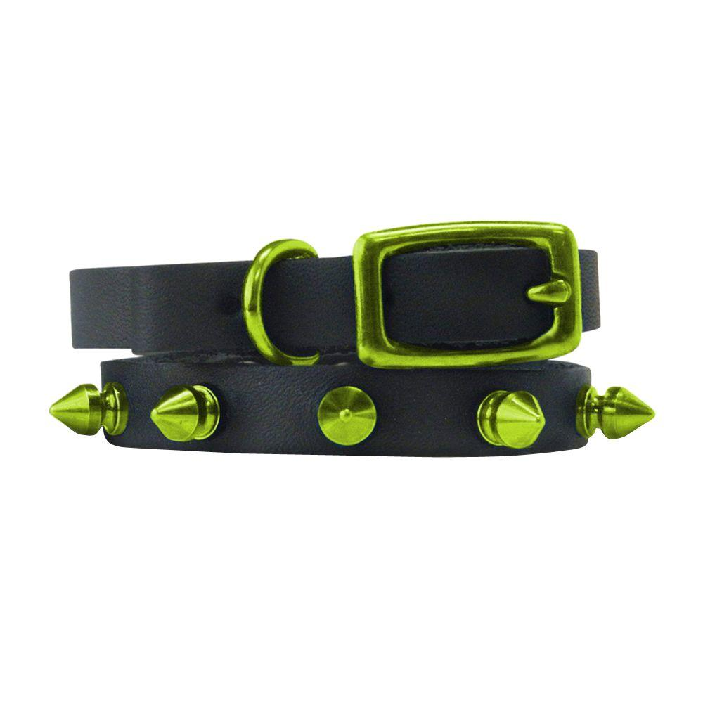 Platinum Pets 10 in. Black Genuine Leather Cat/Puppy Collar in Lime Spikes