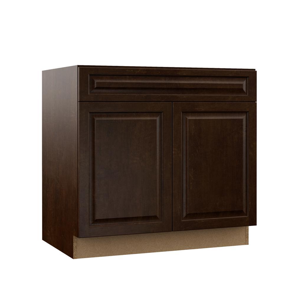 Gretna Assembled 36x34.5x23.75 in. Sink Base Kitchen Cabinet in Espresso