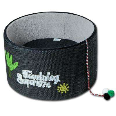 Black Claw-ver Nest Rounded Scratching Cat Bed w/ Teaser Toy