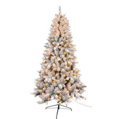 7.5 ft. Flocked Artificial Christmas Tree with 450 UL Lights 980 Tips