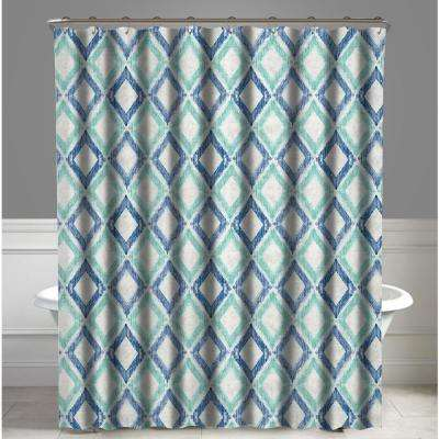 Geometric Green and Blue Apen Water Repellent Shower Curtain 72 in. x 72 in.