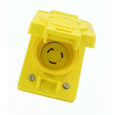 20 Amp 125-Volt Wetguard Flush Mounting Locking Grounding Outlet with Cover, Yellow
