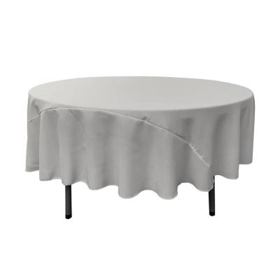 90 in. Round Light Gray Polyester Poplin Tablecloth