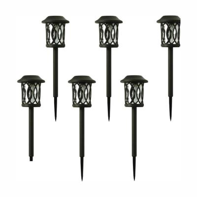 Solar Bronze Outdoor Integrated LED 3000K 6-Lumens Landscape Pathway Light (6-Pack)