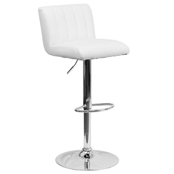 Flash Furniture 33.50 in. Adjustable Height White Cushioned Bar Stool CH112010WH
