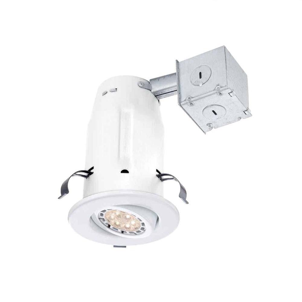 commercial electric 3 in white recessed non ic gimbal led lighting