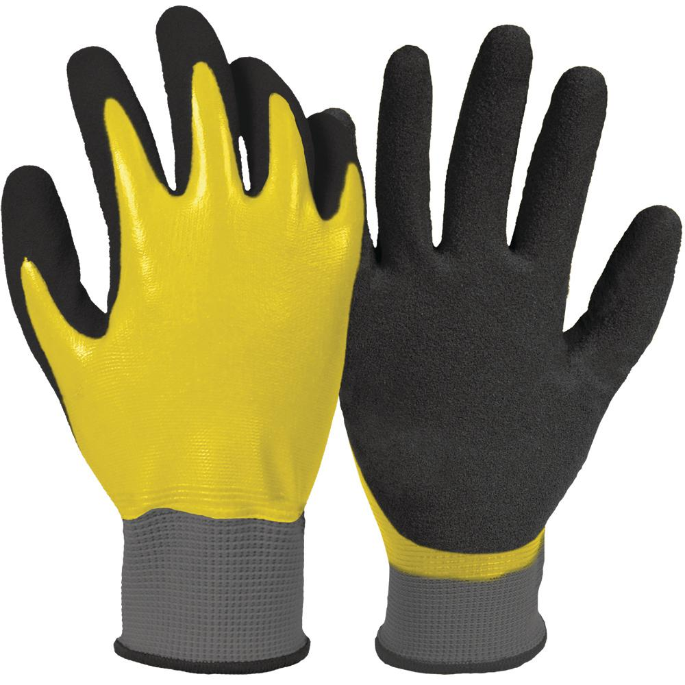 Firm Grip Water Resistant Large Yellow and Black Nitrile Dipped Glove