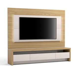 Sylvan Nature Wood and Off White 2-Piece TV Stand and Panel with LED Lights