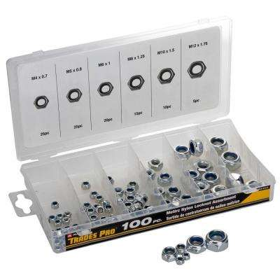 Metric Nylon Lock Nut Assortment (100-Piece)