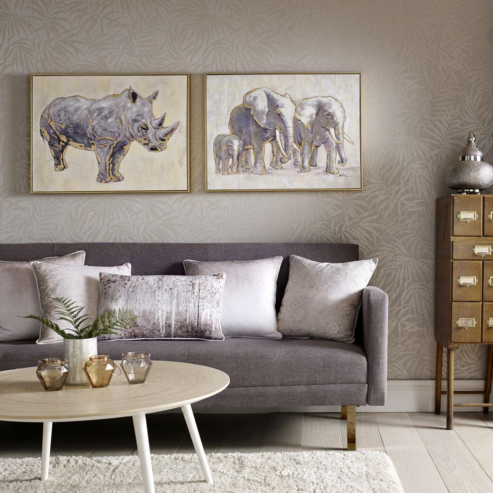 "24 in. x 31 in. ""Metallic Elephant Family"" Print Framed Canvas"