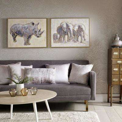 "24 in. x 31 in.  ""Metallic Elephant Family"" Print Framed Canvas Wall Art"