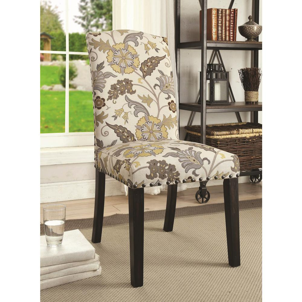 Black White Floral Dining Side Chair Set: Coaster Solomon Collection Floral/Cappuccino Side Chair