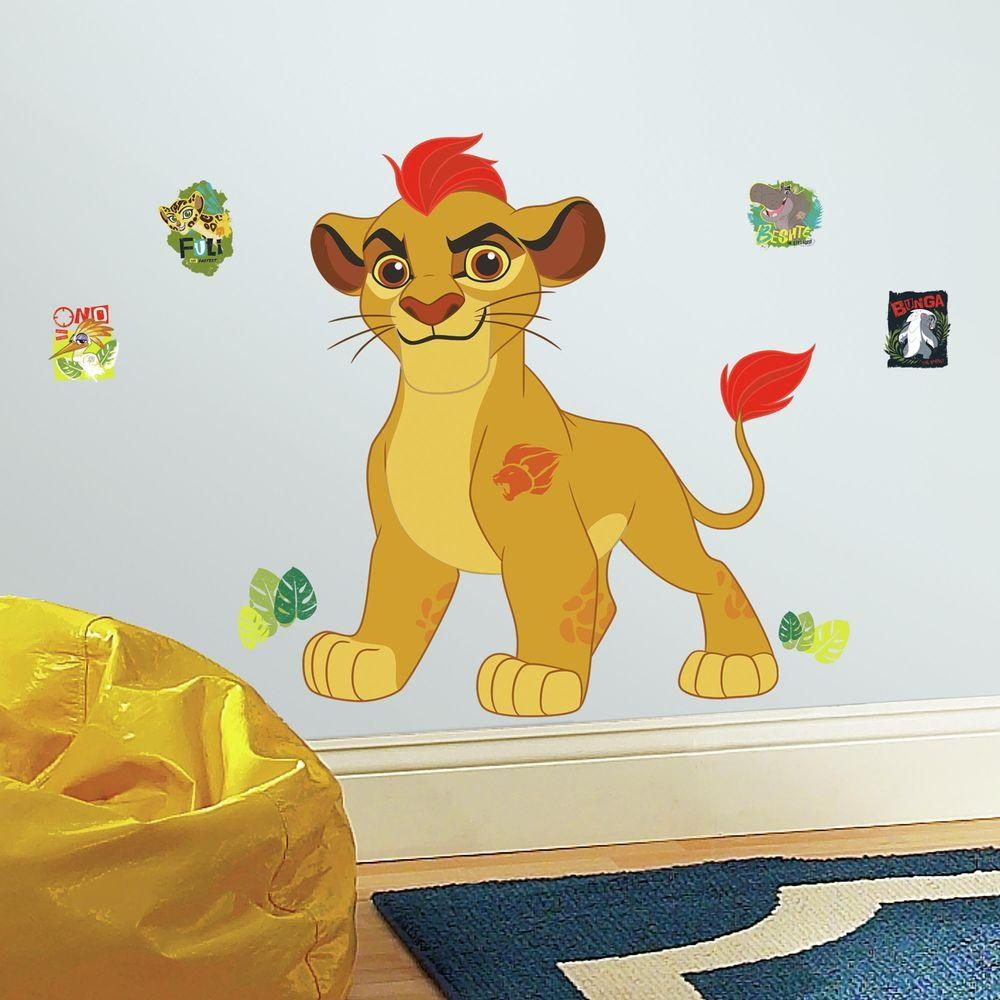 RoomMates 5 in. W x 19 in. H Lion Guard Kion 14-Piece Peel and Stick ...