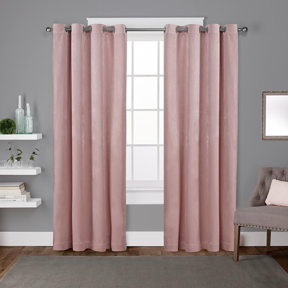 Velvet 54 in. W x 84 in. L Velvet Grommet Top Curtain Panel in Blush (2 Panels)