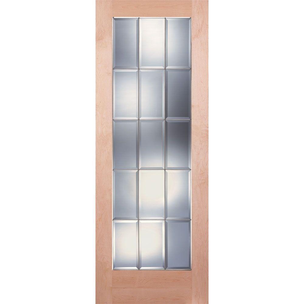 15 Lite Clear Bevel Zinc Woodgrain Unfinished Cherry Interior Door Slab