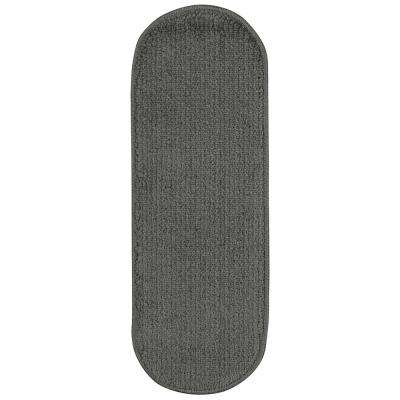 Softy Collection Dark Grey 9 in. x 26 in. Rubber Back Oval Stair Tread Cover (Set of 7)
