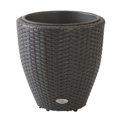 Vista 18 in. Round Resin Wicker Planter with Curve