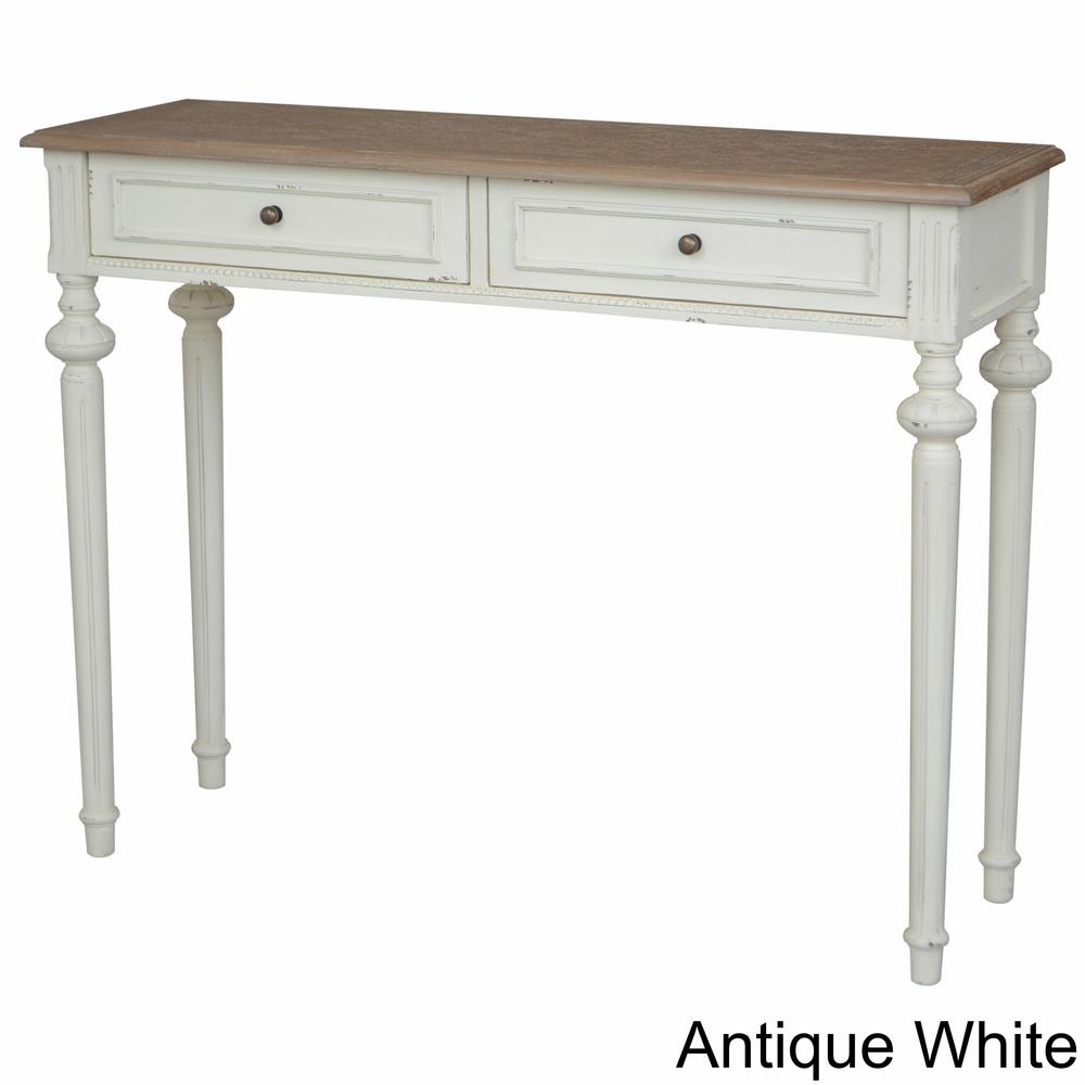 Ashbury Bruges White Washed Natural Oak Veneer And Antique White 1 Drawer Console  Table