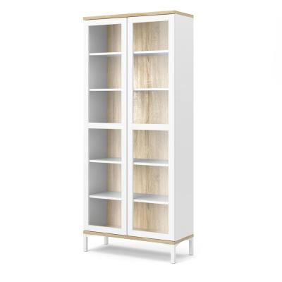 Aberdeen White/Oak Structure 2-Door China Cabinet with Metal Legs