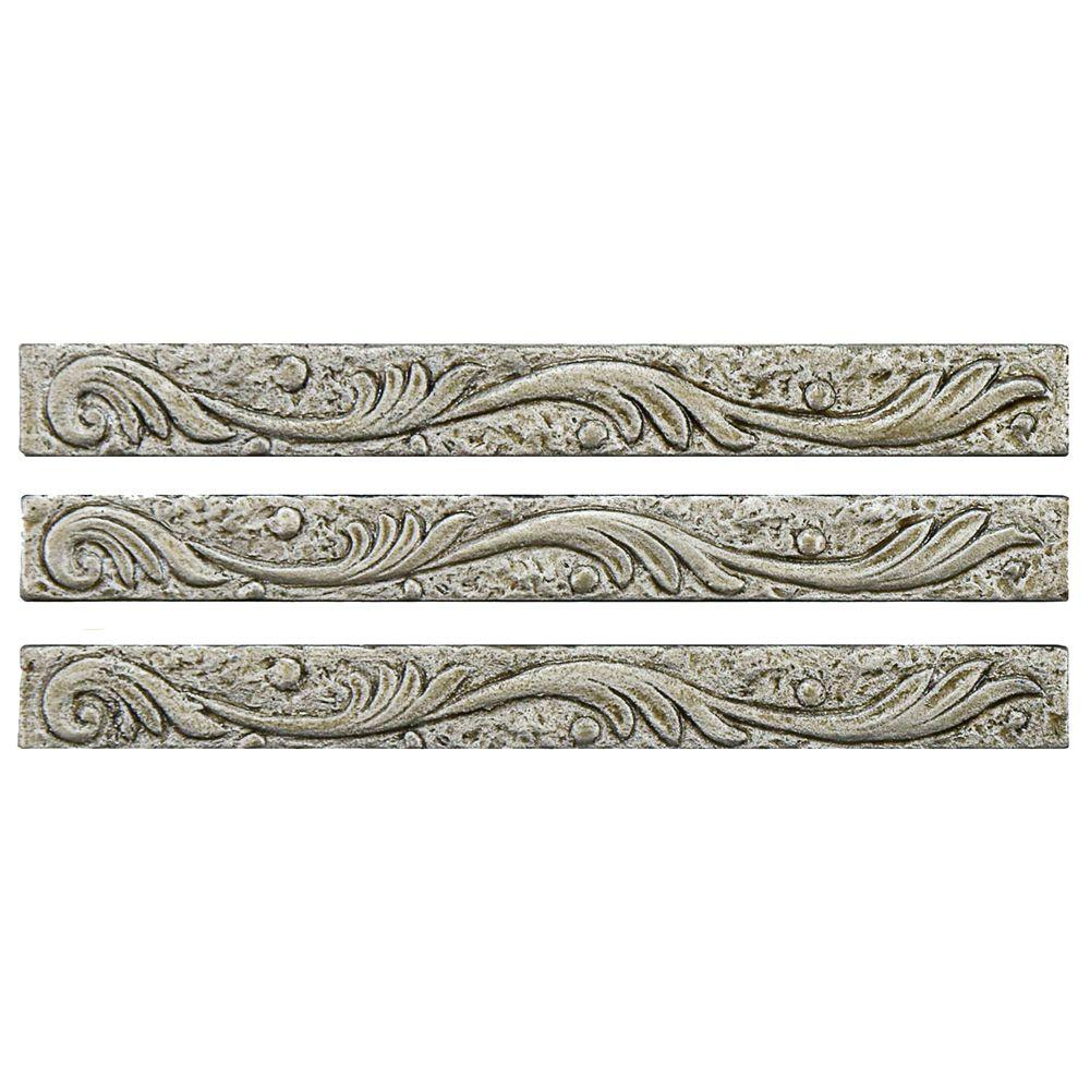 Merola Tile Baroque Pewter Scroll Stick 5/8 in. x 6 in. Resin Wall Trim Tile (3-Pack)
