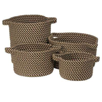 Charlotte Round Onyx Polypropylene Indoor/Outdoor Basket (Set of 3)