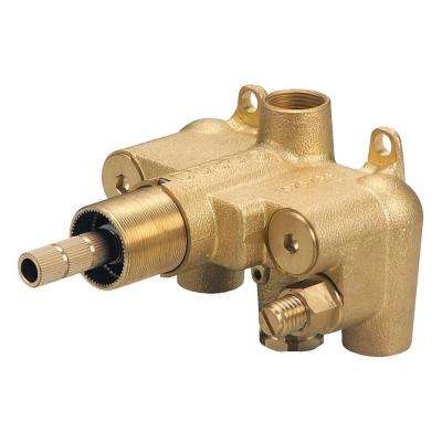 Single Handle 3/4 in. Thermostatic Shower Valve with Stops in Rough Brass
