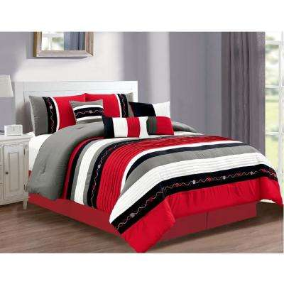 Morgan Home Megan 7-Piece Red Queen Comforter Set