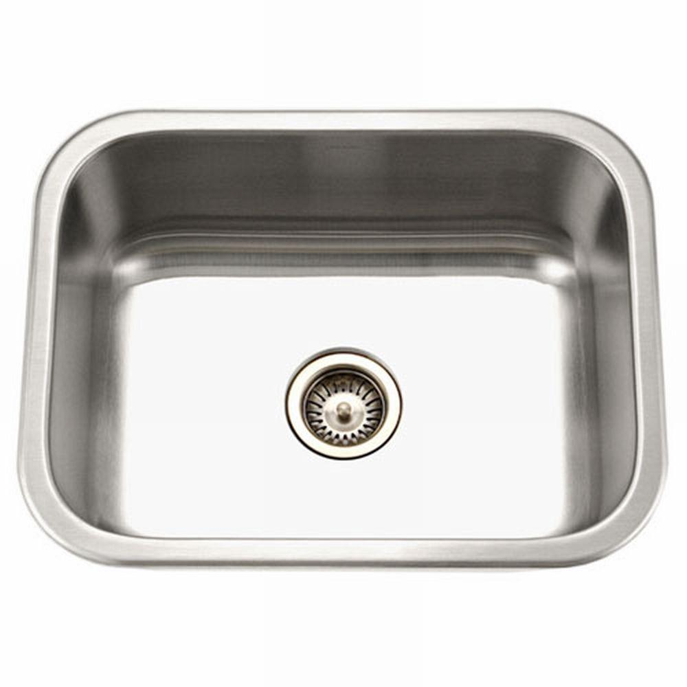 Houzer Medallion Series Undermount Stainless Steel 23 In Single Bowl Kitchen Sink