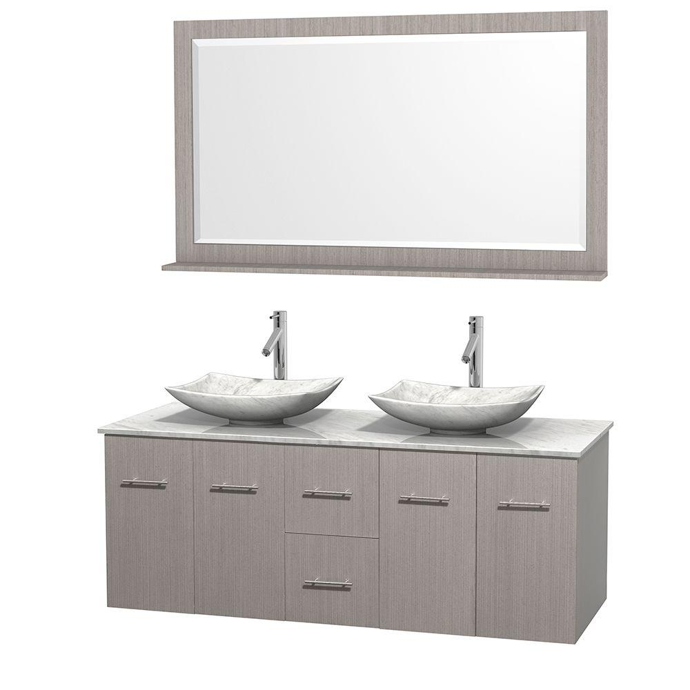 Centra 60 in. Double Vanity in Gray Oak with Marble Vanity