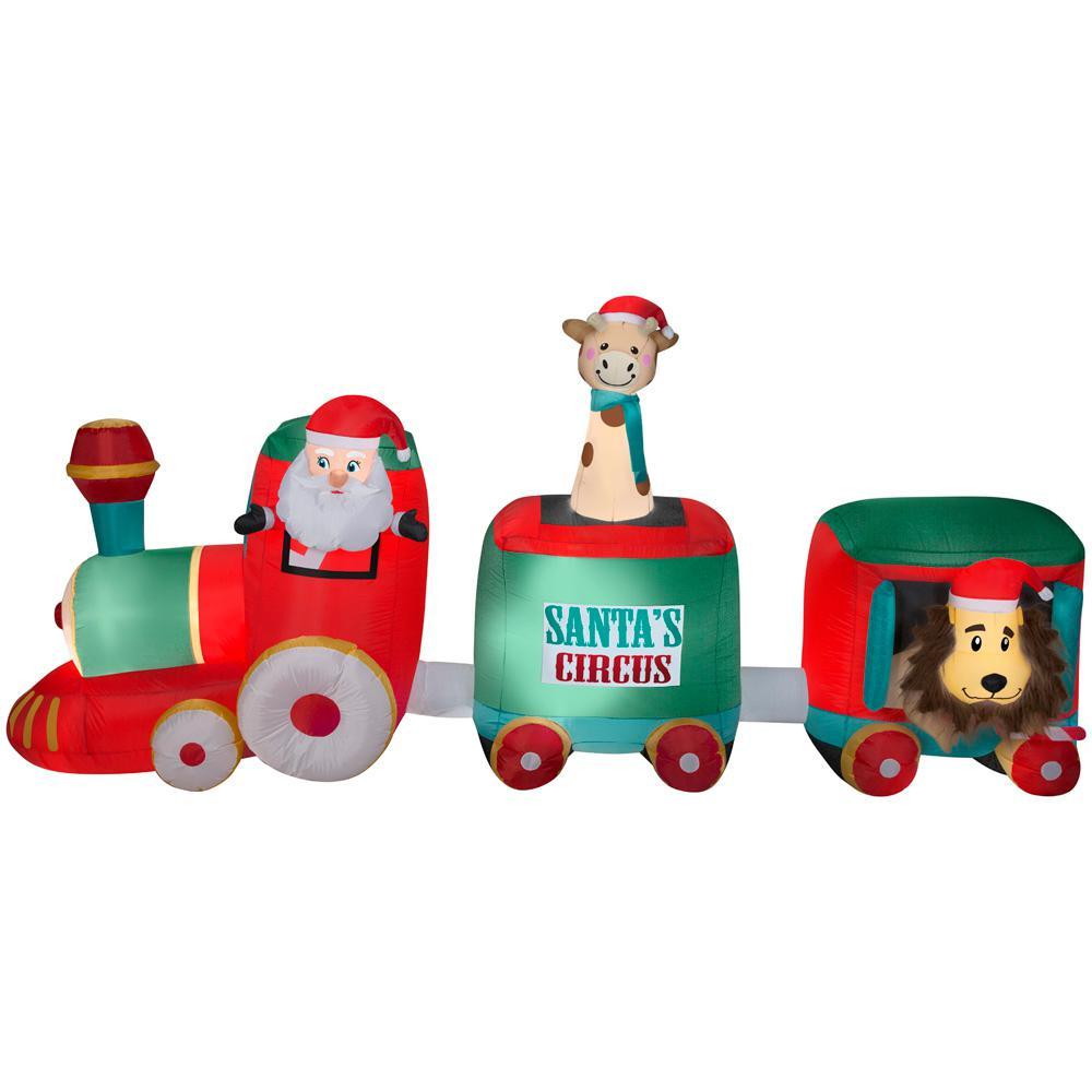 12 ft. Wide Inflatable Pre- Lit Plush Santa in Circus Train