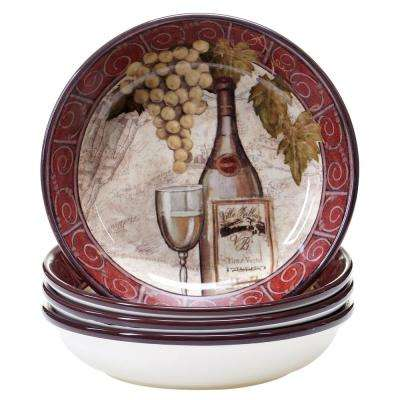 Wine Tasting 8.5 in. Soup and Pasta bowl (Set of 4)