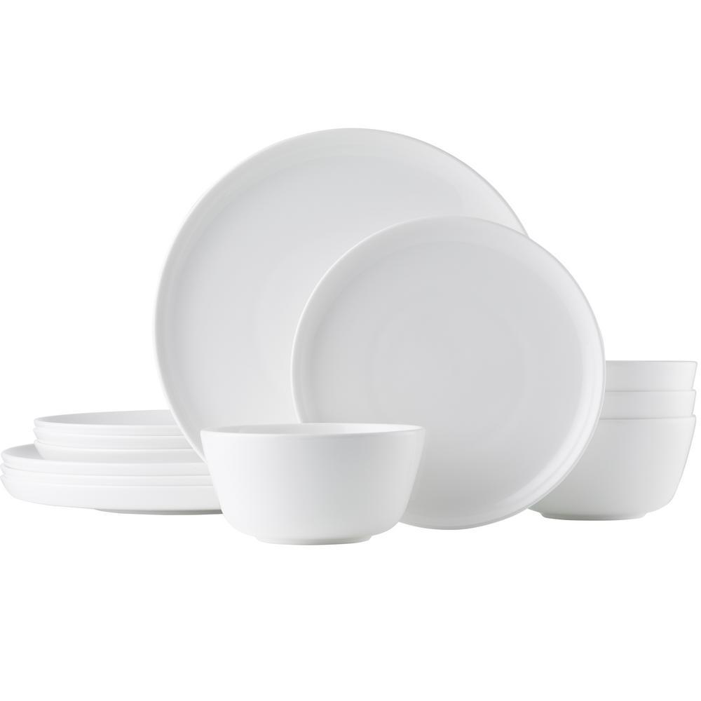 Marc Newson 12-Piece White Bone China Dinnerware Set (Service for 4)