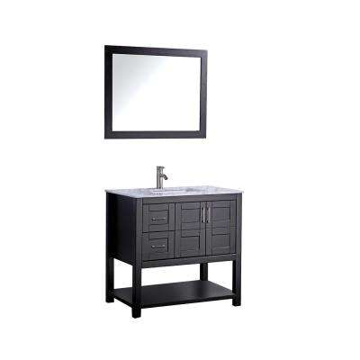 Norway 36 in. H x 22 in. D x 36 in. H Vanity in Espresso with Marble Vanity Top in White with White Basin and Mirror